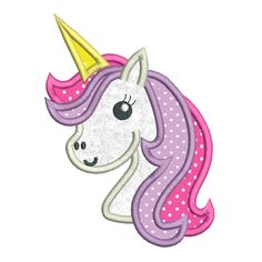 This is a cute little unicorn applique machine embroidery design for girls. It's very sweet and 3 sizes are supplied with purchase- inch hoops. Step by step applique instructions are included. Paper Embroidery, Learn Embroidery, Machine Embroidery Applique, Crewel Embroidery, Embroidery Patterns, Doily Patterns, Dress Patterns, Cute Unicorn, Girly