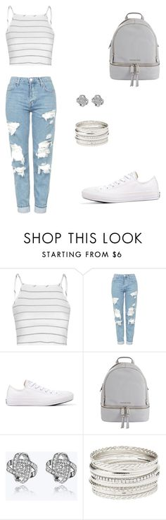 """Relaxed"" by elianaxmartinez ❤ liked on Polyvore featuring Glamorous, Topshop, Converse, MICHAEL Michael Kors, Charlotte Russe and stripedshirt"