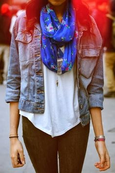 Jeans Jacket With Floral Scarf and Tights
