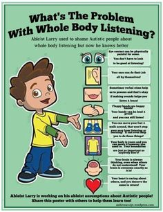 What's the Problem With Whole Body Listening? Ableist Larry used to shame Autistic people about whole body listening but now he knows better. Image of a cartoon boy presenting a list of body parts with this text: Eye contact can be physically painful for some. You don't have to look to be good at listening! Your ears can do their job all by themselves! Sometimes verbal stims help us to process and that's okay if making sounds helps you listen & learn! Flappy hands are happy hands! Your hands…
