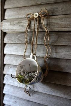 DIY- Nest in a teacup.  I love that she covered the nail or screw with a button.