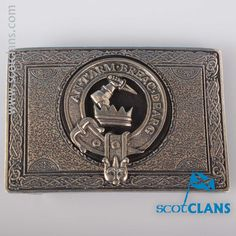 MacQuarrie Clan Crest Kilt Belt Buckle. Free worldwide shipping available.