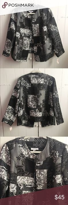 """BNWT Dress Barn floral jacquard open blazer 18/20 Stunning jacket that's completely brand new with tags. Open blazer with mixed print patches all over, black, white and grey. Very easy to dress up or down. This is gorgeous for the holidays!! 100% poly. Approx 50"""" bust but with the open design, it will likely accommodate larger. 26"""" length. ✅offers❌trades/PP 💰bundles save 20% off 2+ Dress Barn Jackets & Coats Blazers"""