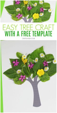 Make this easy nature tree craft using our free template Camping Crafts For Kids, Spring Crafts For Kids, Crafts For Kids To Make, Fun Activities For Kids, Tree Crafts, Flower Crafts, Sweet Trees, Tree Templates, Nature Tree