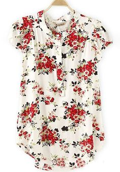 Red Floral Print Button Short Sleeve Casual Sweet Blouse