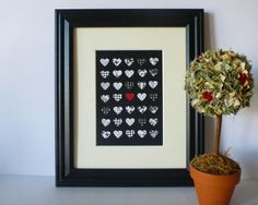 Paper Heart Wall Art - Black, White with a Pop of Colour, x Heart Wall Art, Paper Design, Heart Shapes, Color Pop, Card Stock, Art Pieces, Hand Painted, Colours, Black And White