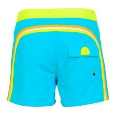 YELLOW AND LIGHT BLUE MID LENGTH SWIM SHORTS WITH RAINBOW BANDS Yellow and light blue nylon taffeta low rise mid-length boardshorts. Three rainbow bands on the back. Fixed waistband with adjustable drawstring and Velcro closure. Internal net. Back Velcro pocket. Sundek logo on the back. COMPOSITION: 100% NYLON. Model wears size 32 he is 189 cm tall and weighs 86 Kg.