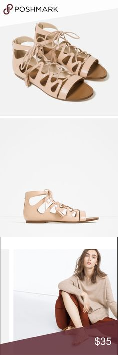Zara Nude Sandals Flat nude color sandals. Perforated detail and straps at instep. Lace up fastening. Zara Shoes Sandals
