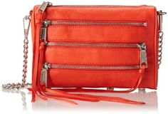Rebecca Minkoff Mini 5-Zip Convertible Cross Body Bag,Blood Orange