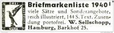 Original-Werbung/ Anzeige 1940 - BRIEFMARKEN SELLSCHOPP - HAMBURG - ca. 45 x 12 mm