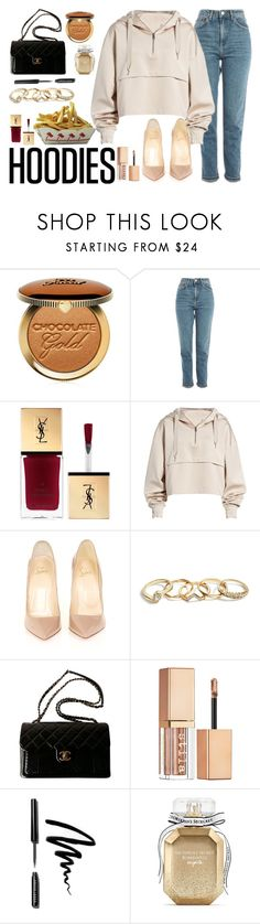 """""""Olha a explosão."""" by carla-limitededition ❤ liked on Polyvore featuring Too Faced Cosmetics, Topshop, Ivy Park, Christian Louboutin, GUESS, Chanel, Stila, Bobbi Brown Cosmetics, Victoria's Secret and Hoodies"""