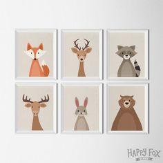 Woodland Animal set art printables nursery Decor by HappyFoxDesign