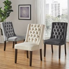 Evelyn II Tufted Wingback Hostess Chairs by Inspire Q Living Room Chairs, Decor, Dining Room Design, Chair, Dining Room Bar, Furniture, Dining Room Chairs, Dining Chair Cushions, Dining Chairs