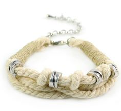 Simple Knotted triple strand  natural cotton rope, twine & silver big hole beads bracelet [pinspiration only]