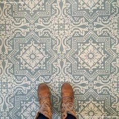 Our Lisboa Tile Stencil is a beautiful classic tile stencil design inspired by the Portuguese tiles, known as azulejos, that line the walls of Lisbon, Portugal. Use this pretty tile stencil on walls, Linoleum Flooring, Vinyl Flooring, Kitchen Flooring, Flooring Ideas, Penny Flooring, Flooring Types, Hallway Flooring, Granite Flooring, Modern Flooring