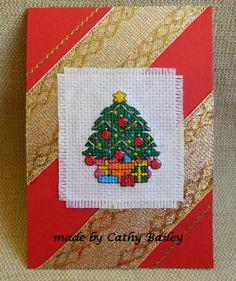 Christmas tree cross stitch card