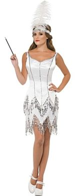 Fever Flapper Dazzle Costume, White, Dress With Sequins and Headband With Feather. Beautiful costume for a roaring twenties party!