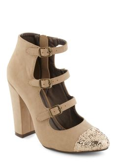 Tiptoe Glow Heel - Tan, Gold, Color Block, Buckles, Party, Luxe, Glitter, Urban, Girls Night Out