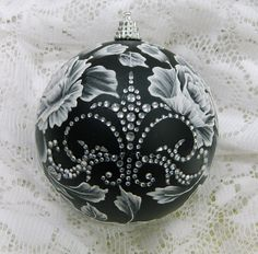 Black Christmas Ornament with Hand Painted, Textured MUD Roses and Rhinestone Bling 35. $40.00, via Etsy.