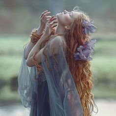 Photo,stylist,MUA,hair,editing @agnieszka_lorek / model @rudaanas /dress @gosiamotas  #agnieszkalorek #mywork #ginger #girl #naturalhair #hairstyles #hair #curls #flowersinmyhair #flowers #romantic #youth #dress #blue #shoot #fineart #pale #longhair #ethereal #fantasy #fairy #fairytale #elf