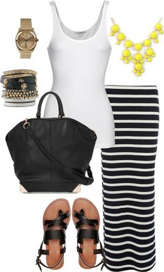 White, Black Stripes, Yellow Outfit