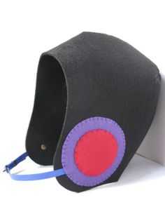 Black, pink and purple felt, aviator hat / Siyah, pembe, mor keçe, aviator şapka www.gigidukkan.com