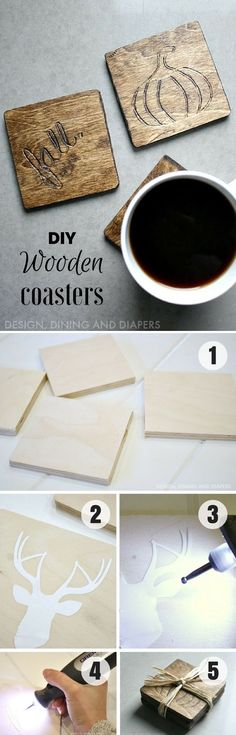 DIY - Wooden Coasters, most Home Center Stores sell the small pieces of wood or are available for free, already stained. Add your own unique design and you have a great gift for someone. Tutorial available... @istandarddesign