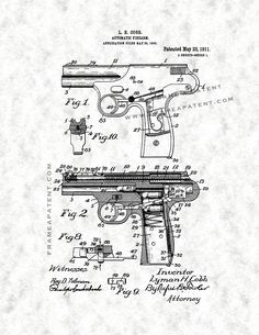 This is a Patent Print for a Automatic Firearm. Cobb and it was issued on May 1911 by the United States Patent and Trademark Office. Patent Drawing, Patent Prints, Firearms, Poster Prints, Guns, Creative, Weapons, Crafts, Diy