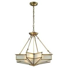 "Featuring star-shaped frosted glass and a solid brushed-brass frame, this elegant semi-flush mount brings a timeless Art Deco flair to your foyer or living room.   Product: PendantConstruction Material: Steel and glassColor: Brushed brassAccommodates: (4) 60 Watt medium base bulbs - not includedDimensions: 22"" H x 25"" W"