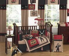 Pirate Baby Crib Bedding Set for Boys - 9pc Nursery Collection #kidsroomstore $189.99