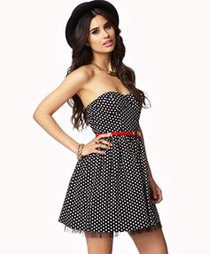 Tulle-Lined Polka Dot Dress | FOREVER 21.... Thinking of ordering this... Maybe?