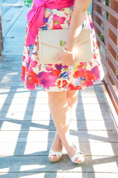 Floral pink dress with a big pink bow!