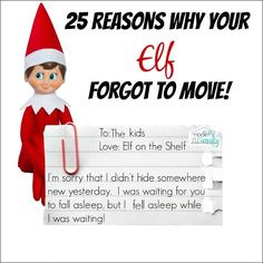 Forgot to move the Elf on the Shelf from Your Modern Family and more great Elf o., Forgot to move the Elf on the Shelf from Your Modern Family and more great Elf on the Shelf ideas! Noel Christmas, All Things Christmas, Christmas Holidays, Christmas Ideas, Christmas Crafts, Funny Christmas, Christmas Inspiration, Christmas Decorations, Happy Holidays