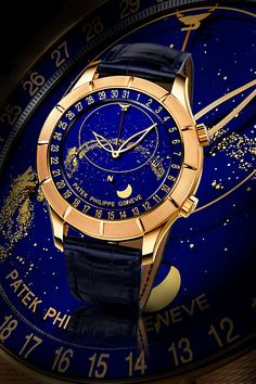 Patek Philippe made this one-of-a-kind Reference 5106, which is based upon the celestial Reference 5102. This unique rose gold watch features a special hand-tooled guilloché etching on its 22kt gold bezel.  This unique Patek Philippe shows the night sky of the northern hemisphere as it rotates backwards (counter-clockwise). This illustrates the angular progression of the stars as they appear, relative to Sirius (Meridian Passage).