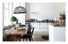 Kitchen   Long Timber Dining Table   Neutral Colours   Natural Light