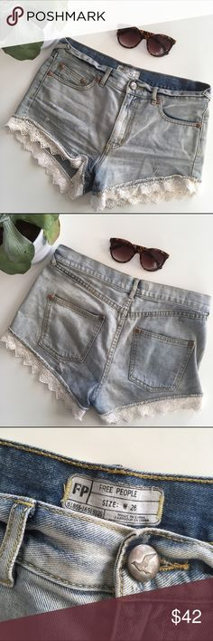 Free People High Rise Lace Trim Shorts Adorable lace trim high rise light wash shorts from Free People, perfect warm weather closet staple! Waist: 15.5in, zipper rise: 7.5in, 100% cotton, slightly distressed. Gently worn, great condition! Free People Shorts Jean Shorts
