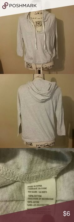 AE Hoodie Good used condition. No rips or stains but a small amount of wear at waistline tie (see pic 4). Still lots of life left in this hoodie. American Eagle Outfitters Tops