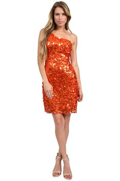 The One Shoulder Mesh Paillettes in Orange by SCALA at CoutureCandy.com