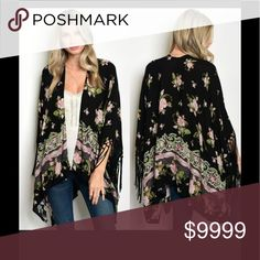 Fringed Floral Cardigan. New! Beautiful kimono style with vibrant colors, arm holes with pretty drop fringe. MSRP=$55. Sweaters Cardigans