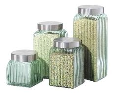 Amazon.com: Oggi Ribbed Glass 4-Piece Canister Set, Clear: Kitchen & Dining