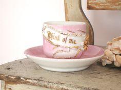 THINK OF ME  Vintage Pink German Cup & Saucer  by IWANTVINTAGE