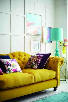 Interiors: Joules and DFS Sofa Collection Living Room Sofa, Living Room Furniture, Living Spaces, Living Rooms, Blue Wingback Chair, Dfs Sofa, Gray Sofa, Cool Rooms, Home Office