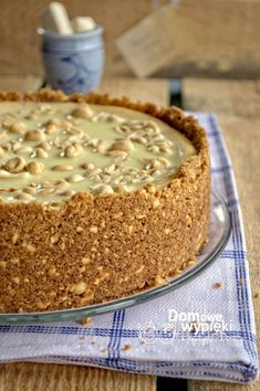 "Sernik ""Biały Michał"" Spód: - 100 g orzechów ziemnych n… na Stylowi.pl Raw Food Recipes, Sweet Recipes, Cake Recipes, Dessert Recipes, Cooking Recipes, Polish Desserts, Polish Recipes, Carrot Cake Cheesecake, Dessert Decoration"