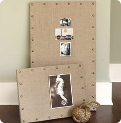 burlap boards - use upholstery tacks underneath wood of cork board.  Add a little embelishment to the corner to personalize for Tim's room - baseball?