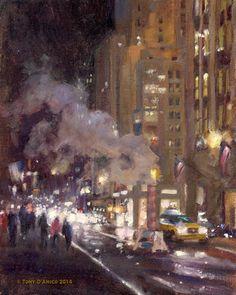 Tony DAmico Fine Art     . Releasing Steam in Midtown 10x8 oil