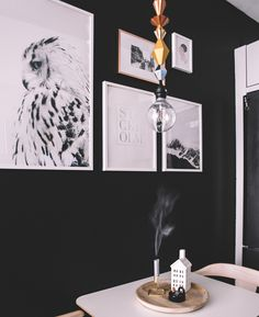 See how a black wall can add to small space especially when paired with a bold light from @IKEAUSA and art from @desenio - this makeover of my dining nook was affordable but still looks super stylish