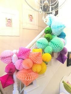 How to Make a Honeycomb Ball Party Swag! This giant swag made from honeycomb ball puffs and was a cinch to make. Pastel Party Decorations, Tissue Paper Decorations, Honeycomb Decorations, Kids Party Decorations, Tissue Paper Ball, Paper Balls, Paper Poms, Honeycomb Paper, Diy Party