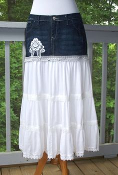 White Broomstick & Blue Denim Reconstructed Jean Skirt