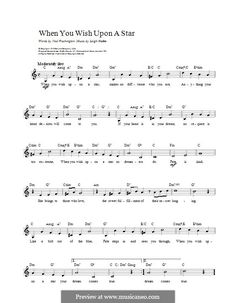 When You Wish Upon a Star (from Disney's Pinocchio): Melody line, lyrics and chords by Leigh Harline