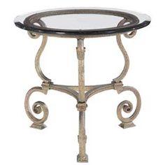 Bernhardt Solano Round Glass Top Lamp Table